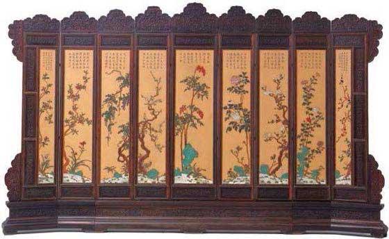 Biombos chinos antiguos autentico y fino biombo chino - Mueble chino antiguo ...